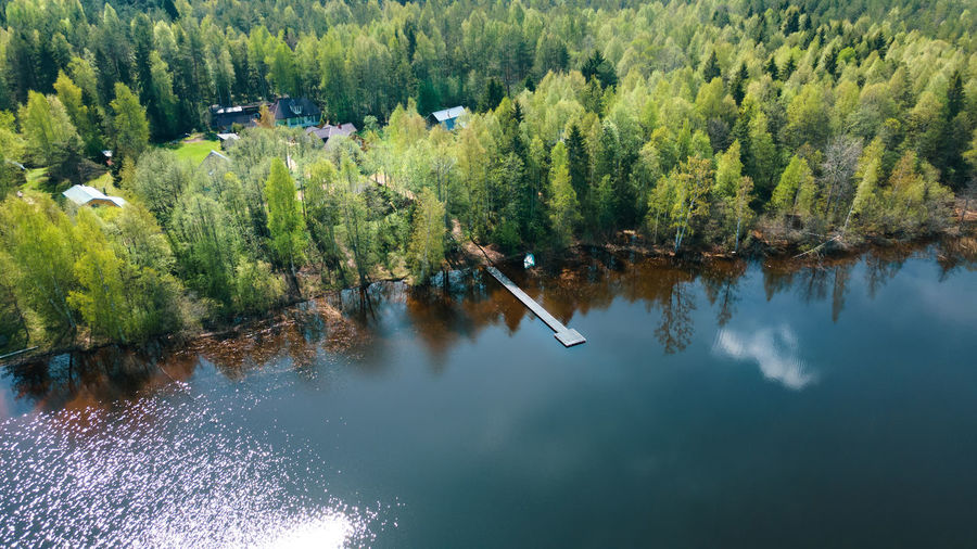 Aerial photography. a beautiful landscape, a lake, a forest, a small village from a bird's eye view.