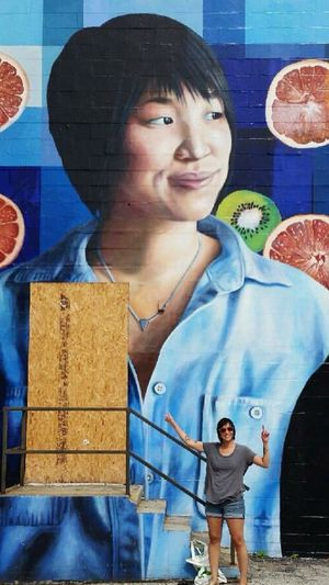 I was finally able to take a picture of my friend Carol standing in front of a mural of herself. MyExoticFriends ATouristInMyOwnCity TheSidewalksOfTheCity ScenesFromTheStreet