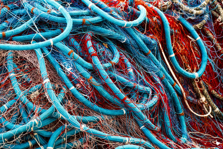 Full Frame Shot Of Tangled Fishing Nets
