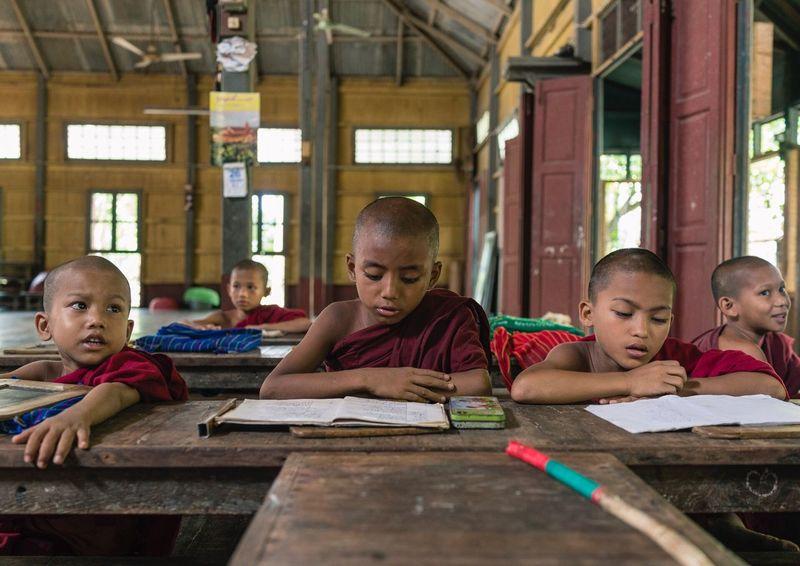 Novice Monks School Documentaryphotography Pyapon Myanmar