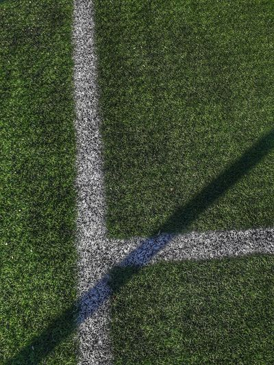 High angle view of shadow on field