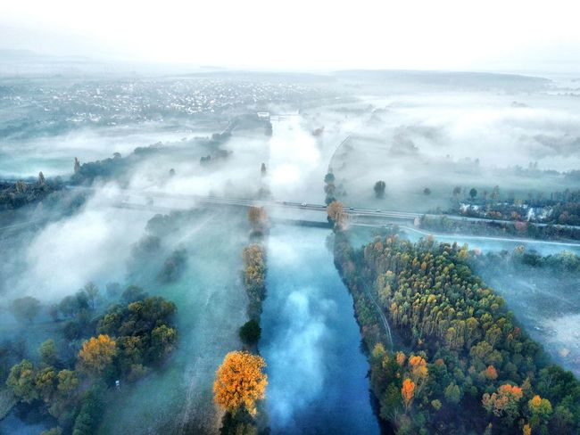 Der Main bei Knetzgau Main Foggy Water Nature Sky Beauty In Nature Scenics - Nature Plant Day Cloud - Sky