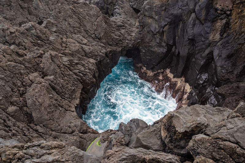 High angle view of sea against rocks