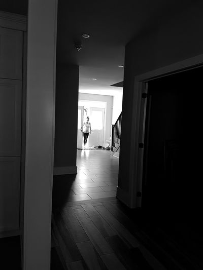 I'm so happy for her and her husband. 😁 Black And White Blackandwhite Photography Black And White Photography Lines Shadows Patterns Background Samsung Full Length Domestic Room Open Door Entryway Doorway Front Door