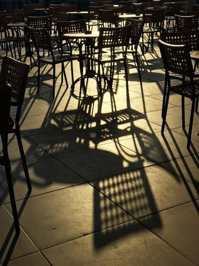 Shadow Sunlight Nature Chair Seat Day No People Outdoors Table Metal Focus On Shadow