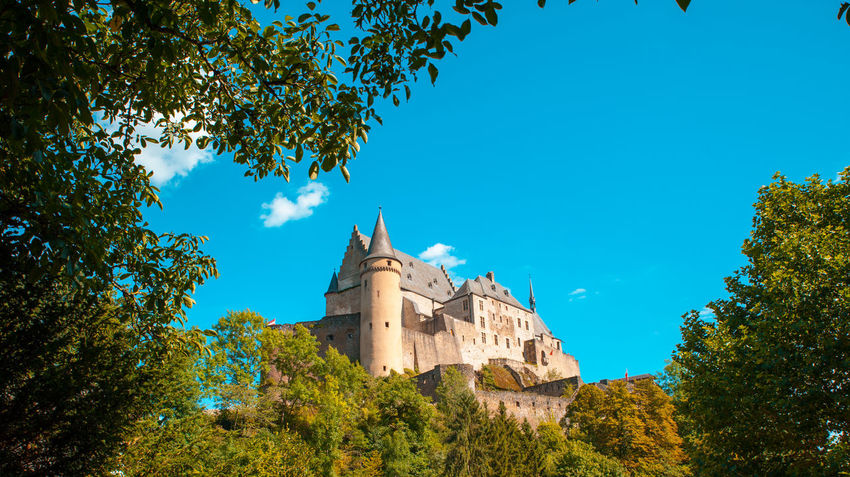 Vianden Castle scene European  Luxembourg Tourist Attraction  Architecture Blue Blue Sky Building Exterior Built Structure Europe Nature No People Outdoors Place Of Worship Sky The Past Tree Vianden Vianden Castle
