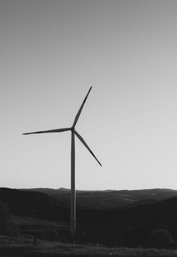 Wind Turbine Environmental Conservation Renewable Energy Turbine Alternative Energy Environment Fuel And Power Generation Wind Power Sky Landscape Nature Land Field Rural Scene Clear Sky No People Technology Sustainable Resources Power Supply Outdoors Simplicity Black And White