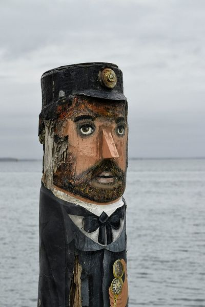 Carving Wooden First Mate Tourist Attraction  Charicature Australia Eye4photography  Carved Wood Wooden Statue Different Geelong Melbourne Wooden Sculpure Carving In Wood Outside Victoria Character Design  Characters Character Face Uniform Sailor Painted Wood Beach Life