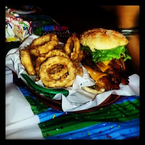 Pete's 3 patty bday burger! Surfclub Burger Onionrings
