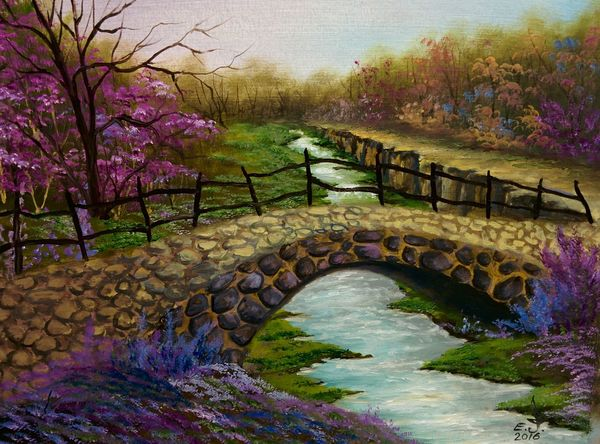 "The stone bridge ,oil on canvas 18""_24"". The Stone Bridge A Bridge Water Creek Railing Outdoors Beauty In Nature Tranquil Scene Tranquility Springtime Tree Landscape My Landscape Collection. My Art Colllection Drawing My Best Friends ❤ Fredom Oil Painting ArtWork Fine Art Friendship. ♡   Love ♥ Koi. Art, Drawing, Creativity"