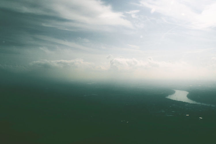 Rhein Cologne River View Helicopter View  High Angle View Lamdscape Fog Foggy Beautiful Moody Mood Moody Sky Cloud - Sky Sky Beauty In Nature Scenics - Nature Tranquility Tranquil Scene No People Nature Day Aerial View Water Environment Outdoors Landscape Sea Idyllic Non-urban Scene Travel