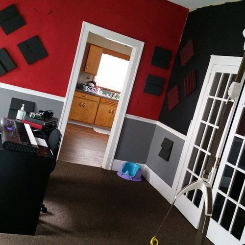 Gotta put the new doors up to separate the kitchen and living room finish a Lil painting a Lil more sound proofing and the all new LiveItBrands Studio will be open for business
