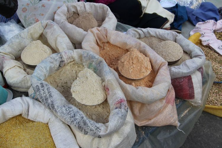 Ground spices at market stall