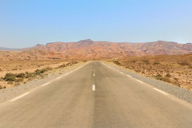 Empty Road In Desert Against Clear Sky