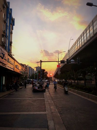 Sunset Sky City Architecture Built Structure Cloud - Sky Building Exterior Transportation Street Real People City Life EyeEmNewHere