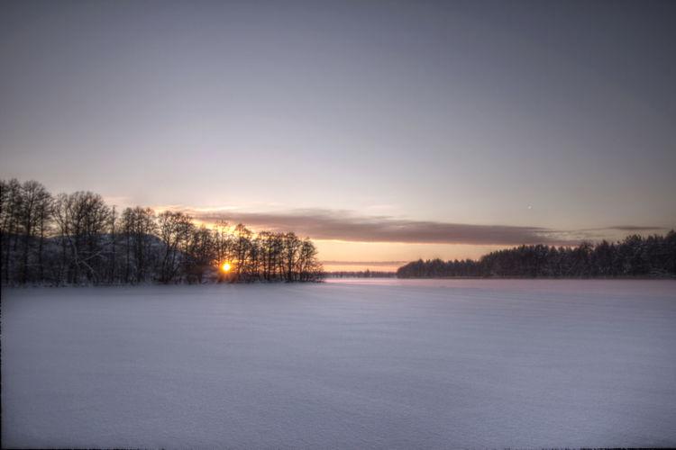 Frozen Lake Landscape Masuren Masuria Mazury Nature No People Outdoors Snow Sun Sunset Winter