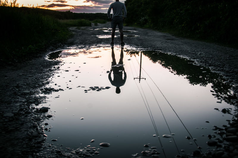 Reflection of man in water