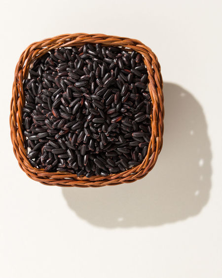 Basket Black Rice Close-up Food Food And Drink Freshness High Angle View Indoors  No People Studio Shot White Background