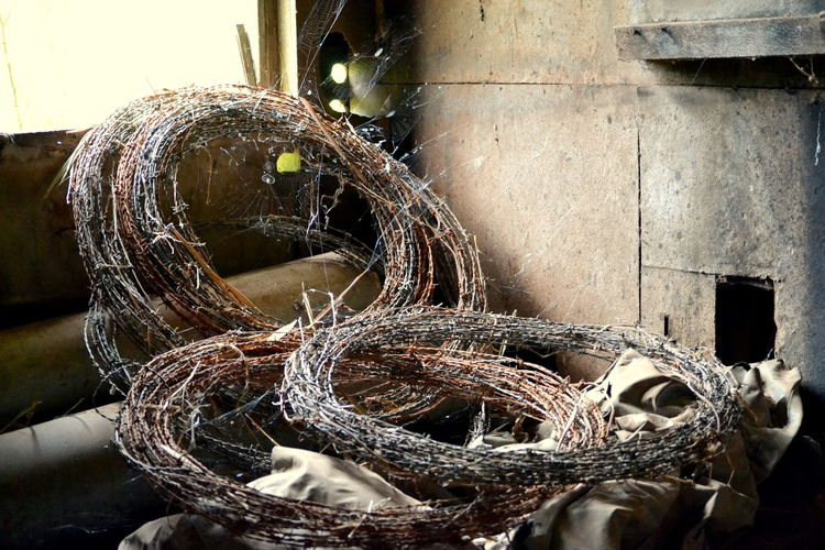 Coiled Wire Country Art Deserted Shed In The Shed On The Farm Sculpture Sunlight Wire
