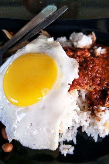 Nasik Lemak Malaysian Food Malaysian Food And Drink Egg Yolk Egg No People Close-up Indoors  Fried Egg Egg White Food Day