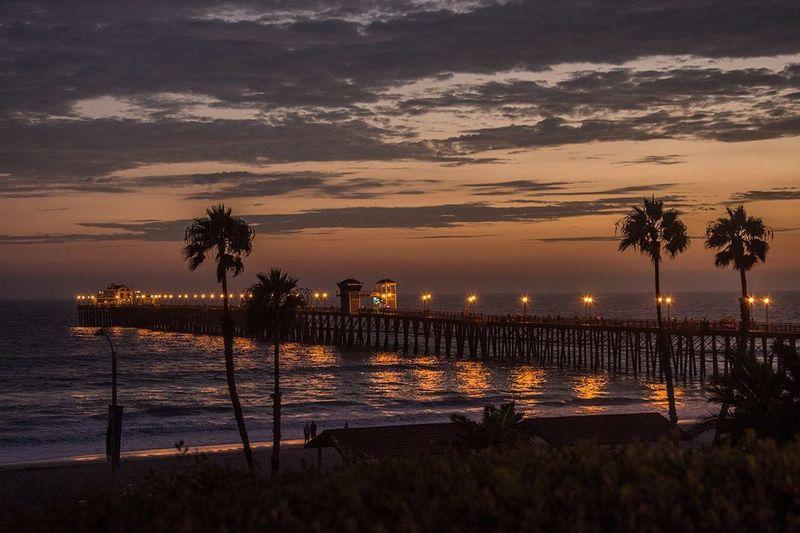 Oceanside Pier Sunset Fishing Pier California Coast Cali Skyporn Pacific Ocean Sky And Clouds California