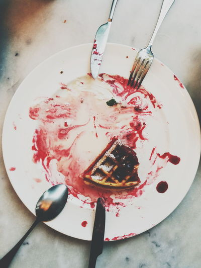 Food Close-up Full Frame Dessert Waffle Strowberry Top View Dish Coffee Shop Sweet Bekery Recipe Mint Sauce Crème Melt Red Mess Up Dericious Empty Tasty Sloppy Dirty