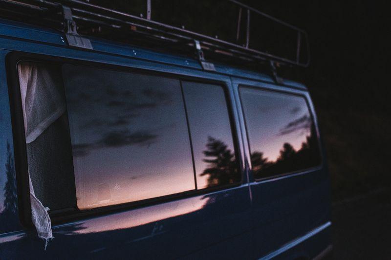 Close-up of car window at night