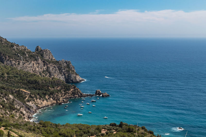 Nature Tuscany Bay Beauty In Nature Cliff Cloud - Sky Day High Angle View Horizon Horizon Over Water Idyllic Italy Land Nature No People Outdoors Rock Rock - Object Rocky Coastline Scenics - Nature Sea Sky Tranquil Scene Tranquility Water