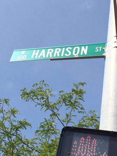 Street Name Sign Street Blue Sky USA USAtrip Michigan Trip Sky Tree Blue Green Harrison Harrison Street