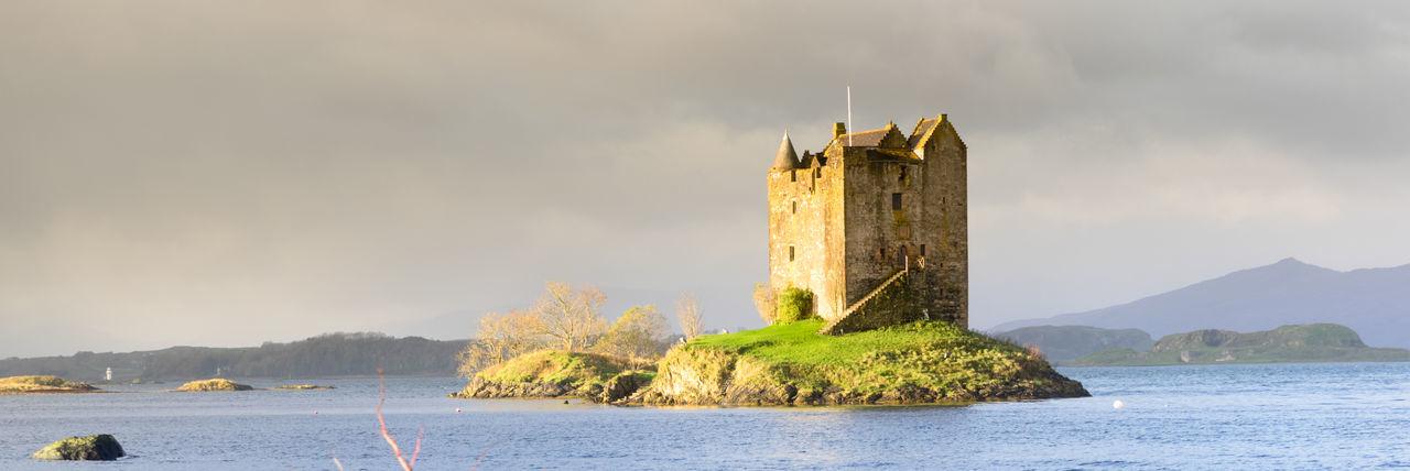 Castle Stalker landscape, Highlands, Scotland. Castle Stalker Scotland Day Loch Linnhe Nature Outdoors Sky Water