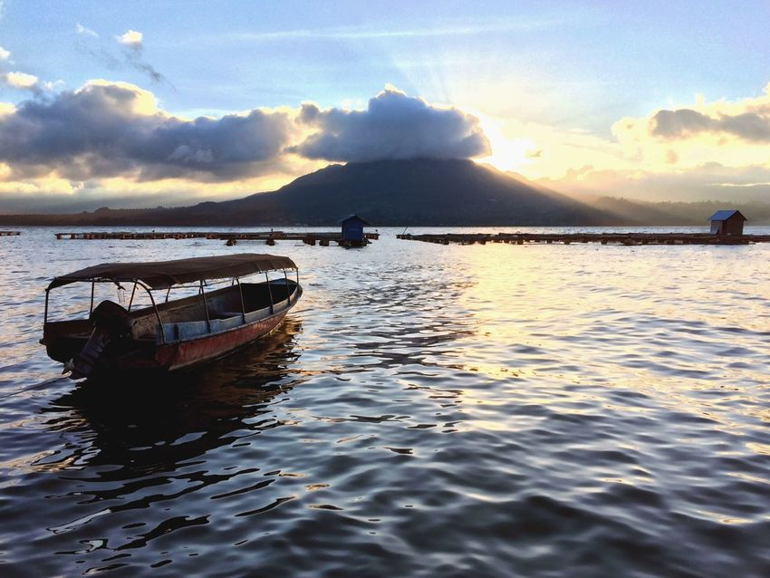 Check This Out Danau Batur Lake Batur Mountains Lake View Mountain Bali Boat Sunset Boat On Water Water Warm Sky Fog Clouds And Sky Cloud Landscape Hidden Gems  43 Golden Moments