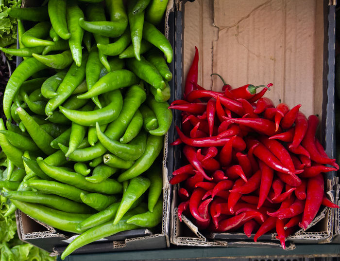 High angle view of chili peppers for sale at market