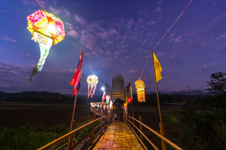 wooden bridge in morning time Wooden Bridge Nightphotography Thailand Twilight Morning Illuminated Multi Colored Tree Railroad Track Arts Culture And Entertainment Sky Landscape Lightning Bridge - Man Made Structure Suspension Bridge