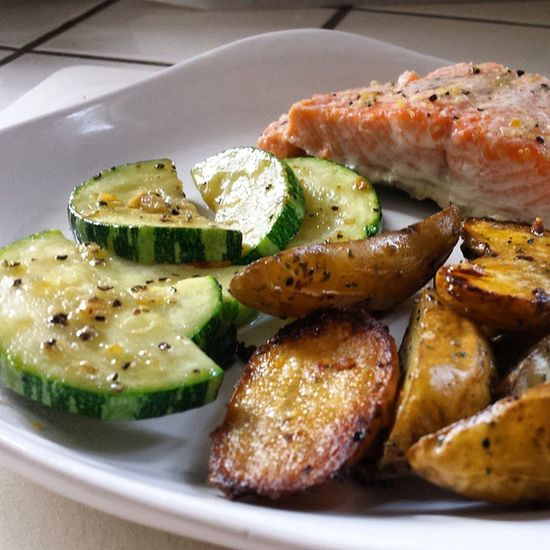 Damn. Dinner Salmon Zucchini Potatoes