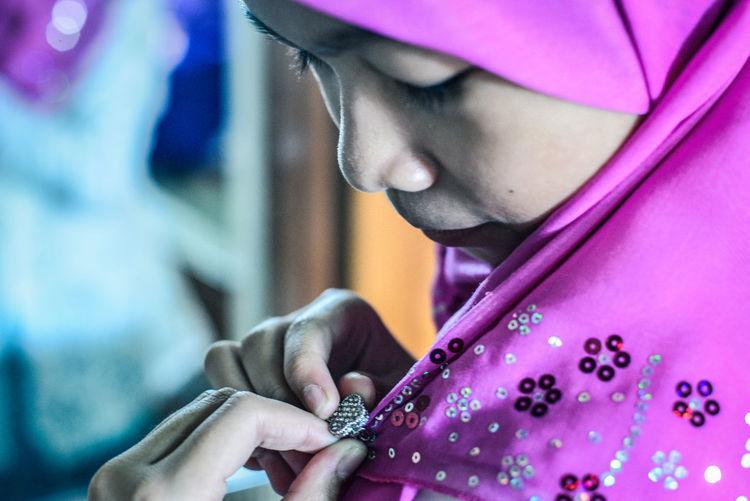 Close-up of woman wearing hijab