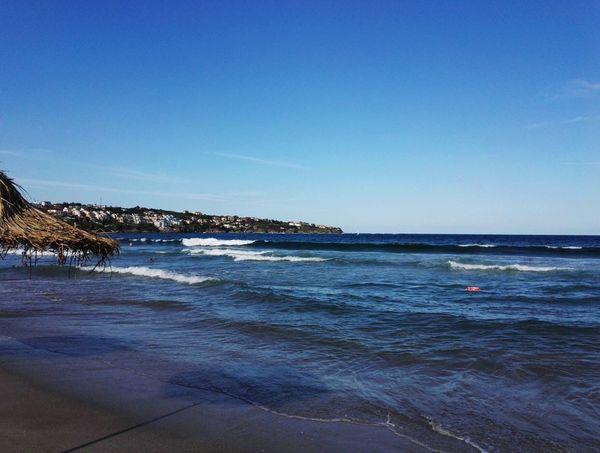 Beach Blue Umbrella Water Clear Sky Sea Low Tide Wave Beach City Sand Blue Summer Seascape Coast