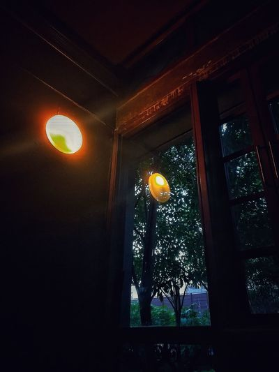 Be Brave HUAWEI Photo Award: After Dark Summer in the City EyeEmNewHere Window Lantern Architecture Sky Built Structure Ceiling Orange Tree