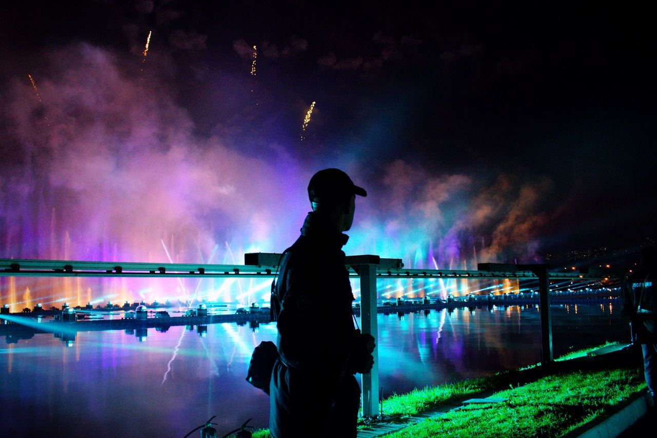real people, water, river, illuminated, night
