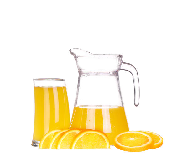 Yellow glass against white background