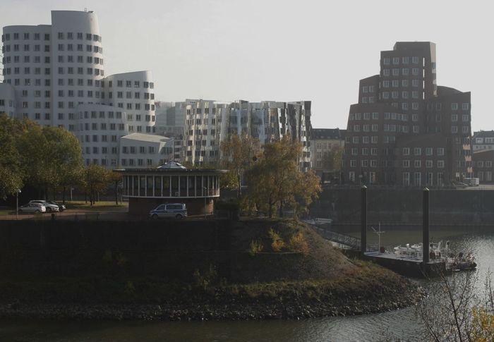 Düsseldorf Am Rhein Modern Architecture Building Exterior Built Structure Cityscape Düsseldorf, Medienhafen River Rhein Germany Skyscraper Waterfront