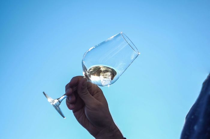 Blue Cheers Clear Sky Holding Human Finger Leisure Activity Lifestyles Men Sky White Wine Wine Tasting Wine Time Wineglass