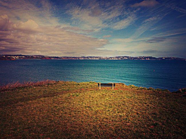 Bench Sea View Sunshine Wandering Walk