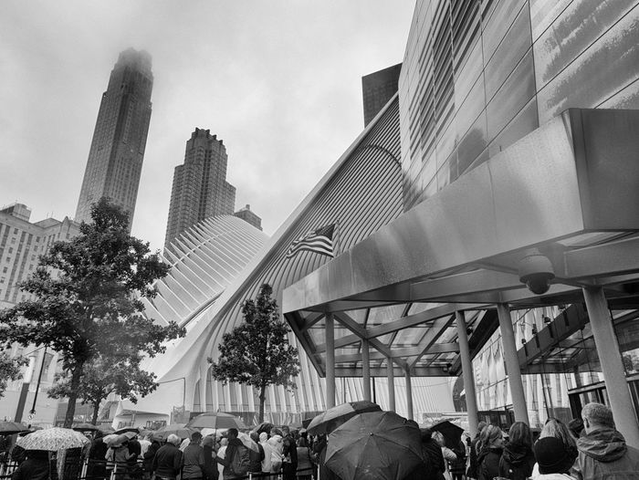9/11 Memorial Architecture Building Exterior Built Structure City City Life Crowd Large Group Of People Lifestyles Men Modern Real People Skyscraper Women