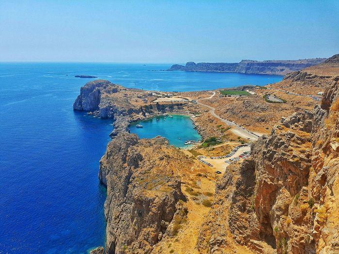 Acropolis Lindos Landscape Blue Sky Blue Wave Idyllic Idyllic Scenery Greece Rhodos Flying High