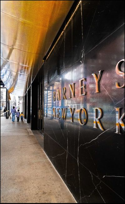 Barneys, back to its now, not so Bargain Basement Store Location - 2/21/16 Building Exterior EyeEm Best Shots Eyeem Streetphotography Family Of Three HDR Composite Selective Masking With Adjustments Sidewalk Swanky Store Wall - Building Feature