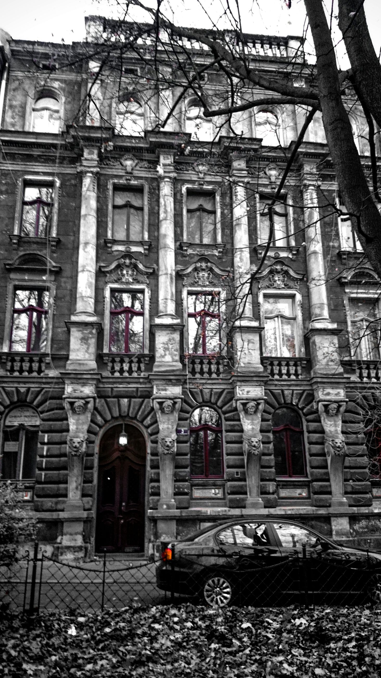 architecture, building exterior, built structure, window, graffiti, building, abandoned, day, residential building, residential structure, bare tree, old, outdoors, house, obsolete, no people, damaged, low angle view, city, facade
