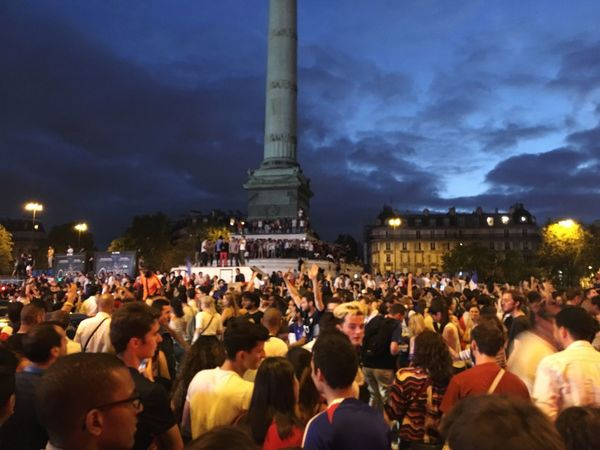 Party for final of world cup of French team at Bastille Crowd Party Enjoyment Soccer Football Celebration World Cup 2018 Football Worldcup Football Fan Crowd Large Group Of People Group Of People Illuminated Architecture Night Real People Built Structure City Sky Adult Architectural Column Outdoors