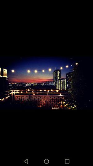 City Illuminated Night Sky Cityscape