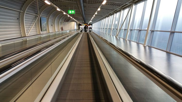 Airport Amsterdam Schiphol Airport Connection Empty Indoors  Moving Walkway  The Way Forward Transportation Travel