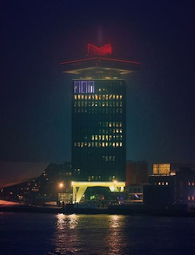 Through the fog. Night Illuminated Architecture Building Exterior City Sky Built Structure Outdoors No People Water Riverside City Lights Cityscape Foggy Night Fog Tower Adamtoren ADAMtower